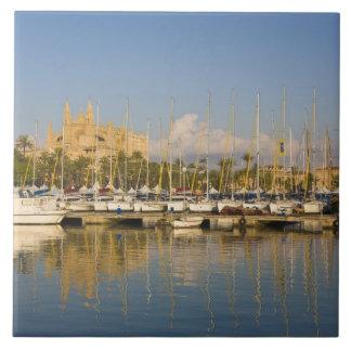 Cathedral and marina, Palma, Mallorca, Spain Large Square Tile