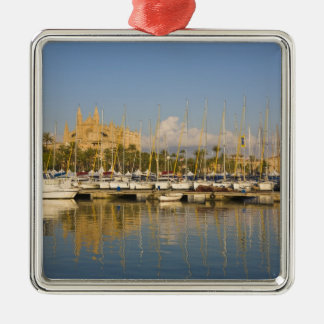Cathedral and marina, Palma, Mallorca, Spain Silver-Colored Square Decoration
