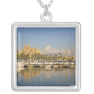 Cathedral and marina, Palma, Mallorca, Spain Silver Plated Necklace
