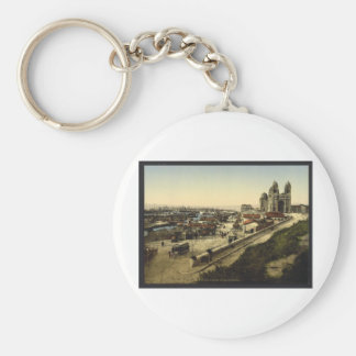 Cathedral and Quay de la Joliette, Marseilles, Fra Basic Round Button Key Ring