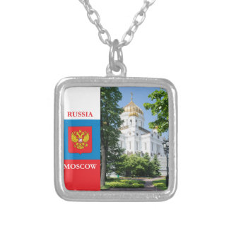 Cathedral Christ the Savior in Moscow Square Pendant Necklace