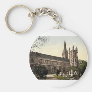 Cathedral from the North, Llandoff (i.e. Llandaff) Basic Round Button Key Ring