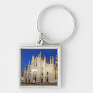 Cathedral  in Milan Silver-Colored Square Key Ring