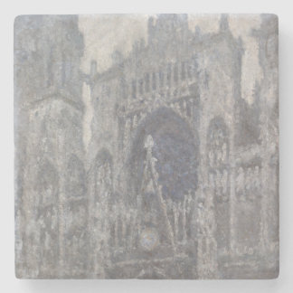 Cathedral in Rouen Portal Grey Weather by Monet Stone Beverage Coaster