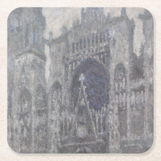 Cathedral in Rouen Portal Grey Weather by Monet Square Paper Coaster