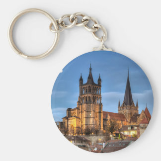 Cathedral Notre Dame of Lausanne, Switzerland, HDR Key Ring
