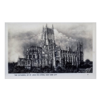 Cathedral of St. John the Divine, NYC Vintage Poster
