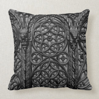 Cathedral Pew Geometric Wood Carving Pattern 03 Cushion