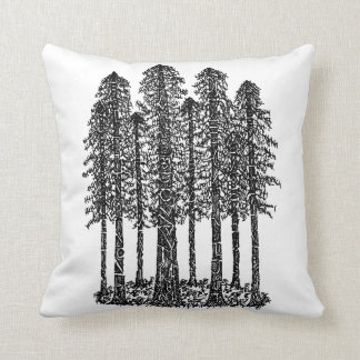Cathedral Ring (Coastal Redwoods Sketch) Cushion