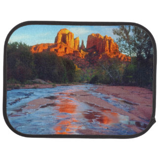 Cathedral Rock reflecting in Oak Creek at Sunset Car Mat