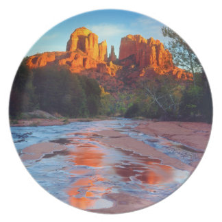 Cathedral Rock reflecting in Oak Creek at Sunset Plate