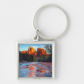 Cathedral Rock reflecting in Oak Creek at Sunset Silver-Colored Square Key Ring