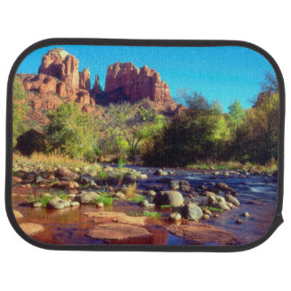 Cathedral Rock reflecting in Oak Creek Car Mat