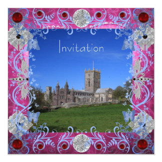 Cathedral Rubies Art Deco Wedding Invitation Card