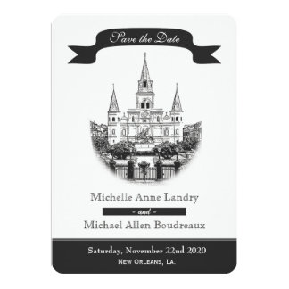 Cathedral Save the Date Black and White Cards