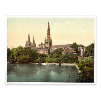 Cathedral, South Side, Lichfield, England rare Pho Postcard
