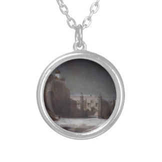 Cathedral Square in the Moscow Kremlin at night Round Pendant Necklace
