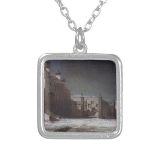 Cathedral Square in the Moscow Kremlin at night Square Pendant Necklace