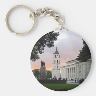 Cathedral Square in Vilnius, LITHUANIA --- Basic Round Button Key Ring
