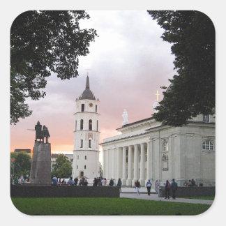 Cathedral Square in Vilnius, LITHUANIA --- Square Sticker