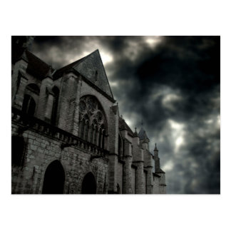 cathedral with dramatic sky postcard