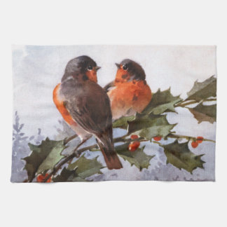 Catherine Klein: Robins on Holly Towel