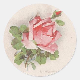 Catherine Klein's Pink Rose Classic Round Sticker