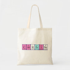Bag featuring the name Catherine spelled out in symbols of the chemical elements