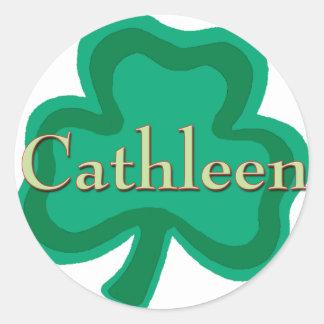 Cathleen Irish Name Round Stickers