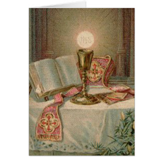 Catholic Altar Chalice Missal Eucharist Priest Greeting Card