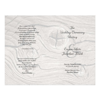 Catholic Ceremony Wood Folded Wedding Program 21.5 Cm X 28 Cm Flyer