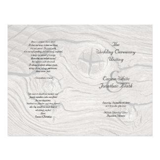 Catholic Ceremony Wood Folded Wedding Program Flyer