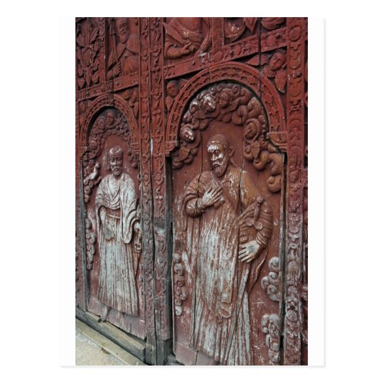 Catholic church ornate wooden doors postcard