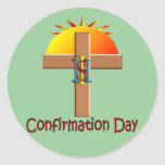 Catholic Confirmation Day for Kids Round Stickers