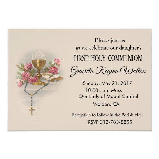 Catholic First Holy Communion Invitations Zazzle Co Uk