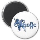 Catholic Gothic Cross navy Magnets