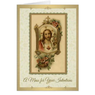 Catholic Mass Memorial Offering Sacred Heart Card