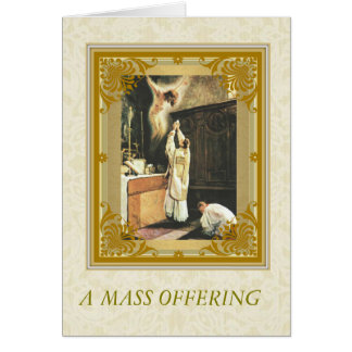 Catholic Mass Memorial with Priest at Altar Server Card