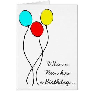 Catholic Nun Birthday Card Big Balloons