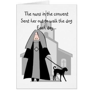 """Catholic Nun Funny Cards """"Walking The Dog"""""""