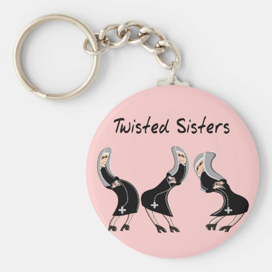 "Catholic Nun Gifts ""Twisted Sisters"" Design Key Ring"