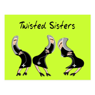 "Catholic Nun Gifts ""Twisted Sisters"" Design Postcard"