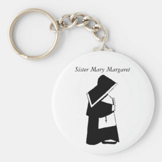 Catholic Nun in Habit Custom Sister Name Basic Round Button Key Ring