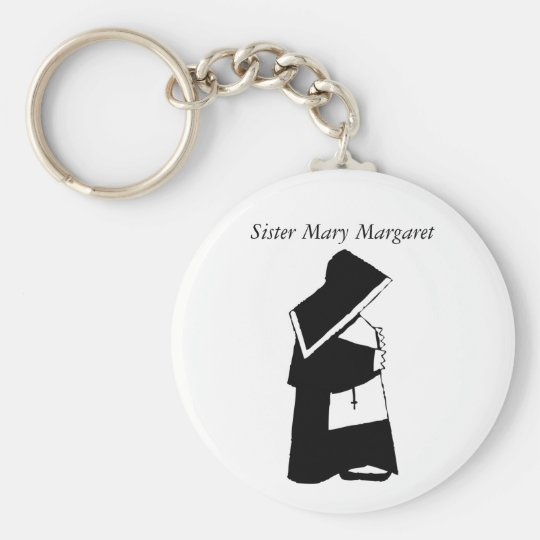 Catholic Nun in Habit Custom Sister Name Basic Round Button Key Ring