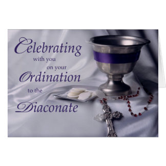 Catholic Ordination to Diaconate Chalice Rosary Card