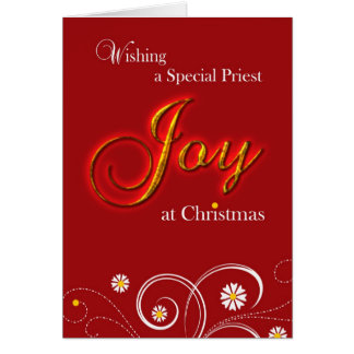 Catholic Priest, Joy at Christmas Greeting Card