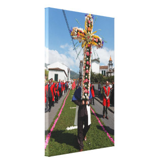 Catholic procession in the Azores Stretched Canvas Print