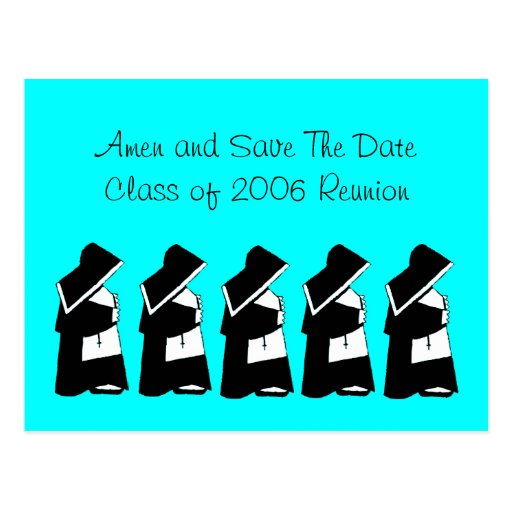 Catholic School Reunion Save The Date Nun Custom Postcards
