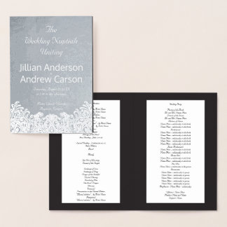 Catholic Wedding Program Silver Damask Template