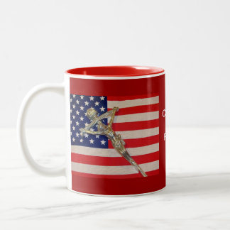 Catholics for Romney 2012 Papal Crucifix USA flag  Two-Tone Mug